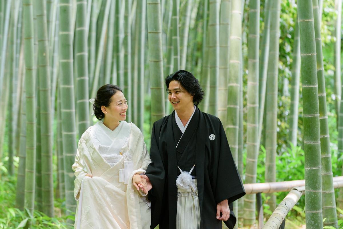 鎌倉 和装 前撮り フォトウェデイング 竹林のお寺 白無垢 紋付き袴