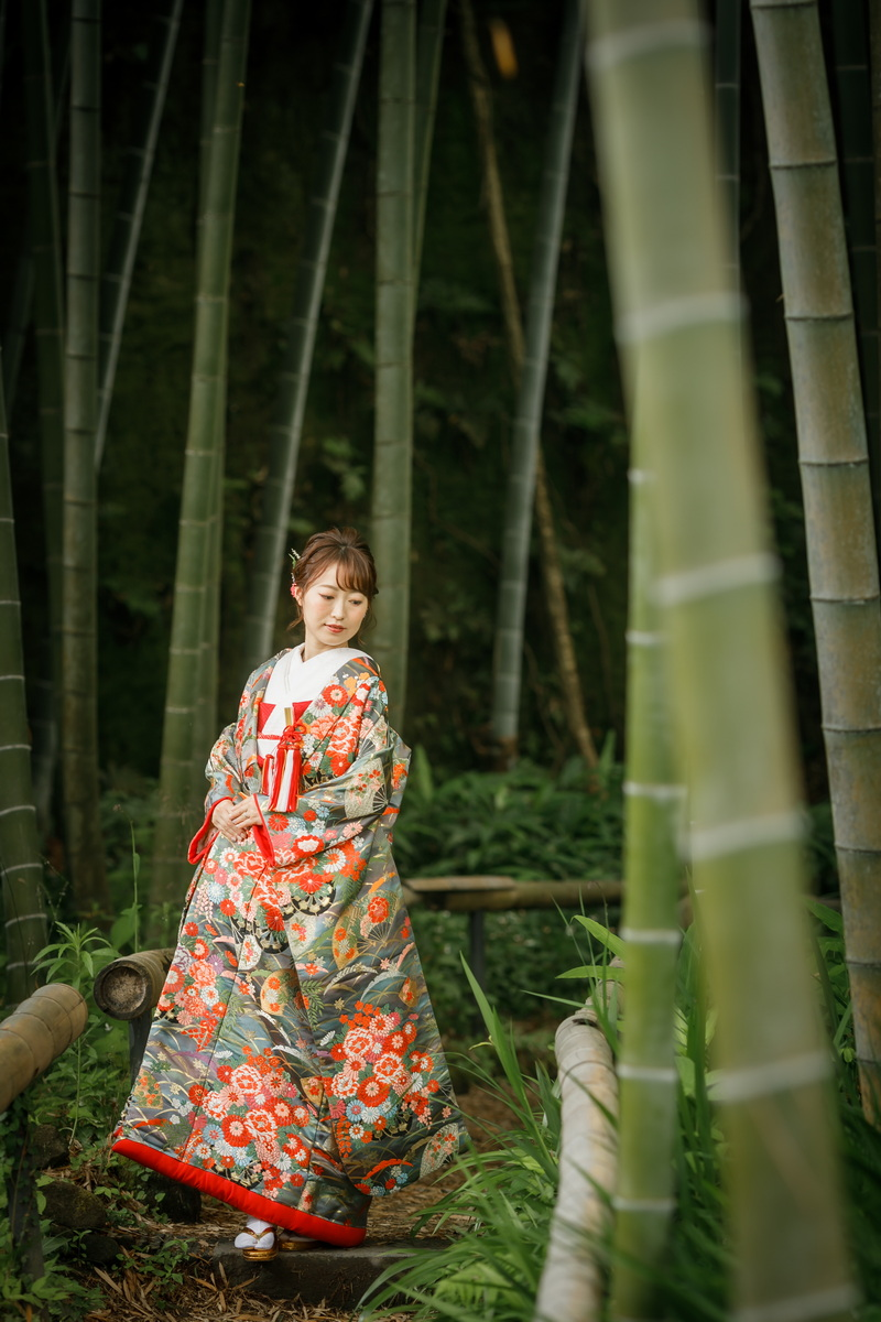 和装 色打掛 【紫03】 竹林のお寺