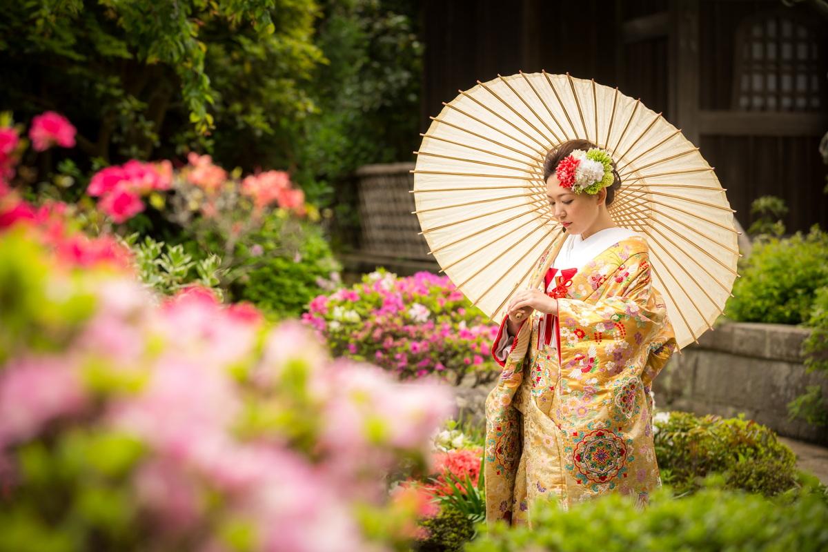 鎌倉 和装 前撮り フォトウェデイング 海蔵寺 ツツジ 新婦一人 色打掛