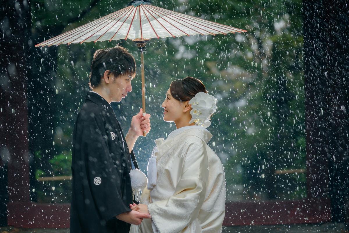 鎌倉 和装 結婚式 前撮り 妙本寺 雨 お二人 白無垢