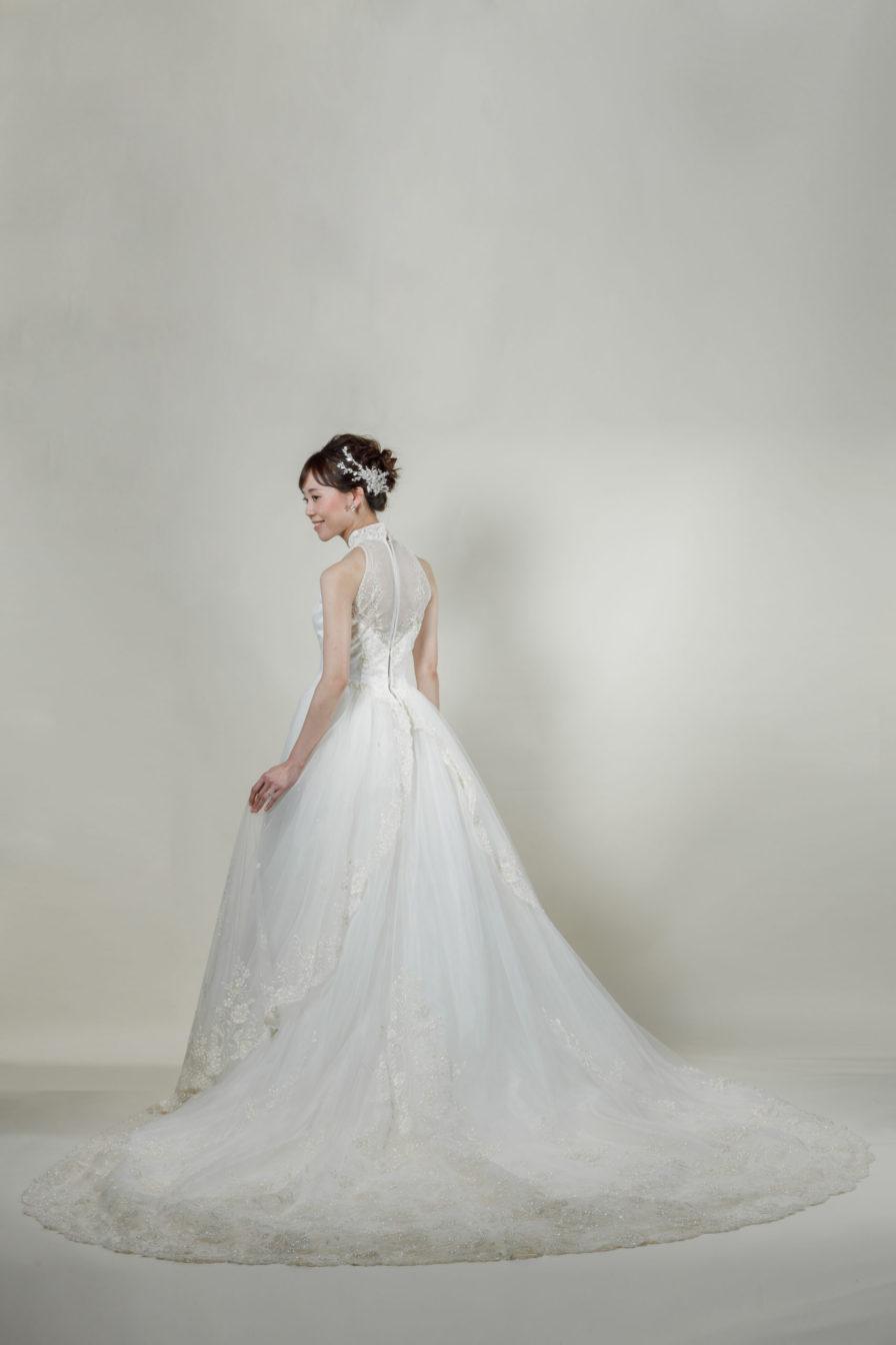 洋装 ウェディング ドレス 前撮り 後ろ向き画像 W911 スタンダードコレクション